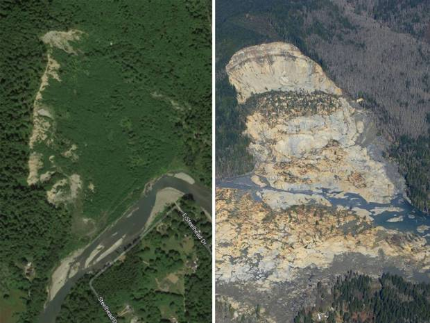 Before (left) and after (right) images of the Oso slide. Note the prominent scarp visible before the most recent slide. Image from http://www.independent.co.uk/incoming/article9216264.ece/ALTERNATES/w620/landslide3-v2.jpgn